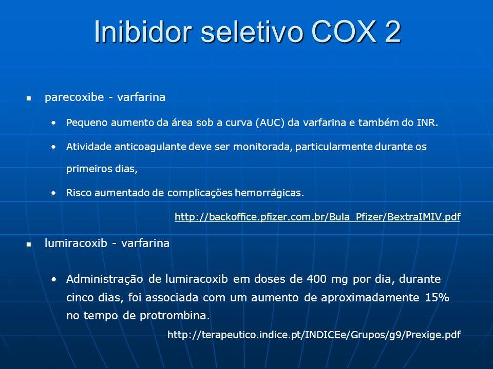 Inibidor seletivo COX 2 parecoxibe - varfarina lumiracoxib - varfarina