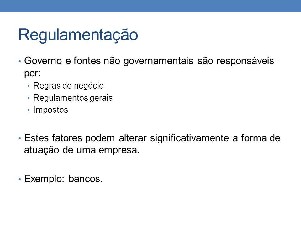 Regulamentação Governo e fontes não governamentais são responsáveis por: Regras de negócio. Regulamentos gerais.