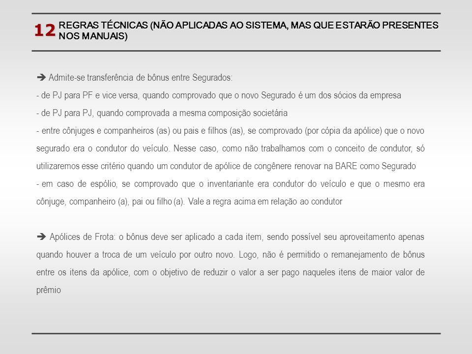 12  Admite-se transferência de bônus entre Segurados: