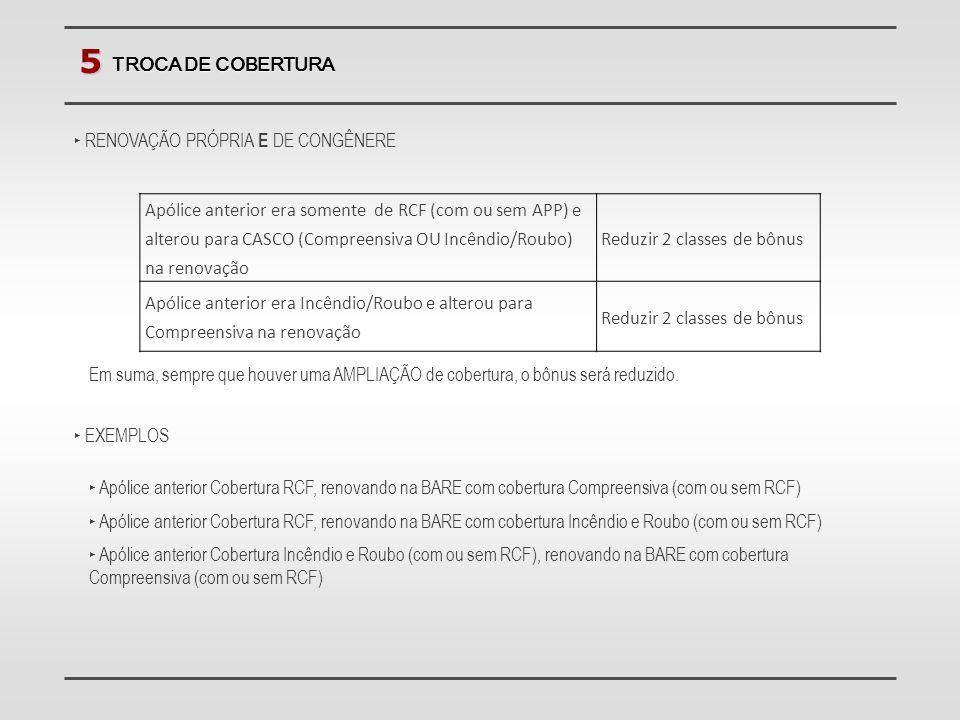 5 TROCA DE COBERTURA. RENOVAÇÃO PRÓPRIA E DE CONGÊNERE.