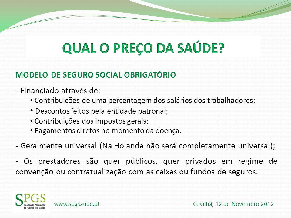 QUAL O PREÇO DA SAÚDE MODELO DE SEGURO SOCIAL OBRIGATÓRIO