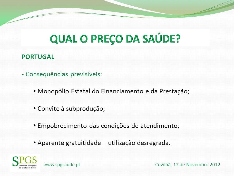 QUAL O PREÇO DA SAÚDE PORTUGAL - Consequências previsíveis: