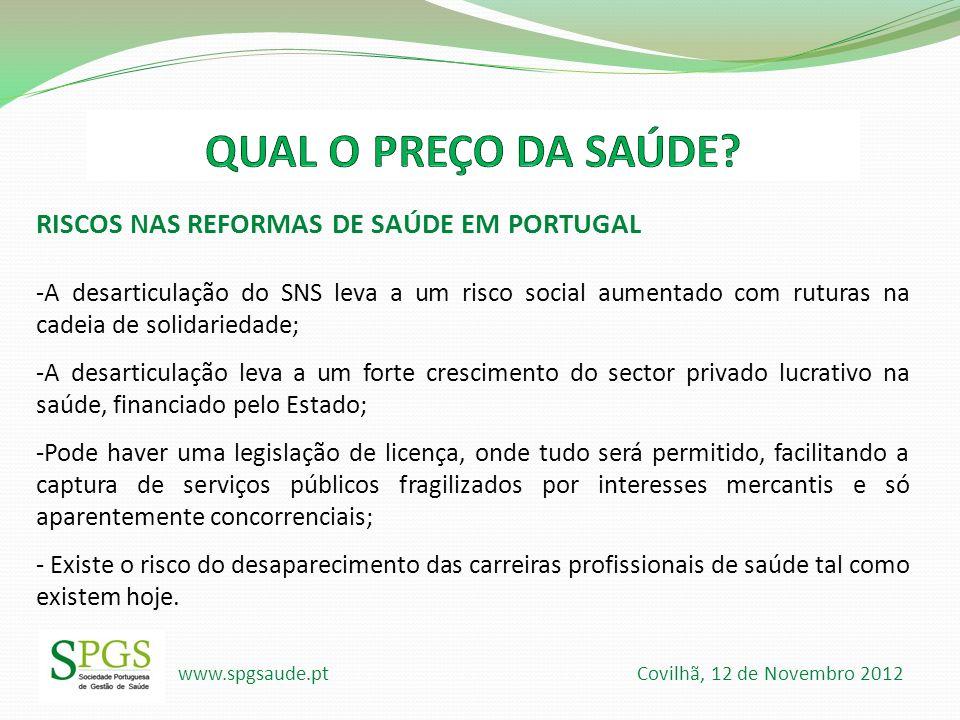 QUAL O PREÇO DA SAÚDE RISCOS NAS REFORMAS DE SAÚDE EM PORTUGAL