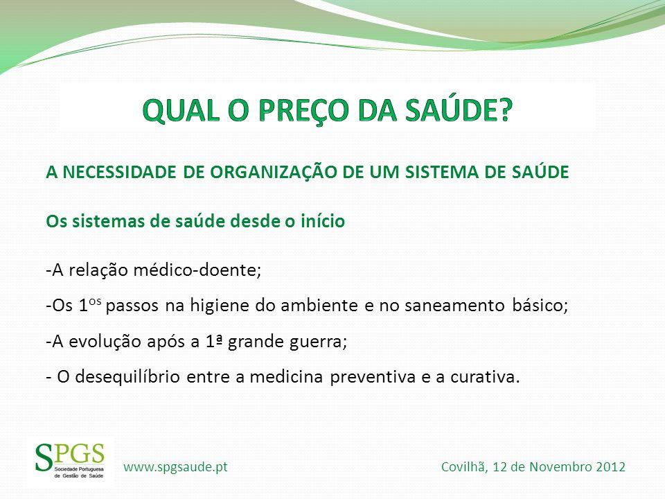 QUAL O PREÇO DA SAÚDE A NECESSIDADE DE ORGANIZAÇÃO DE UM SISTEMA DE SAÚDE. Os sistemas de saúde desde o início.