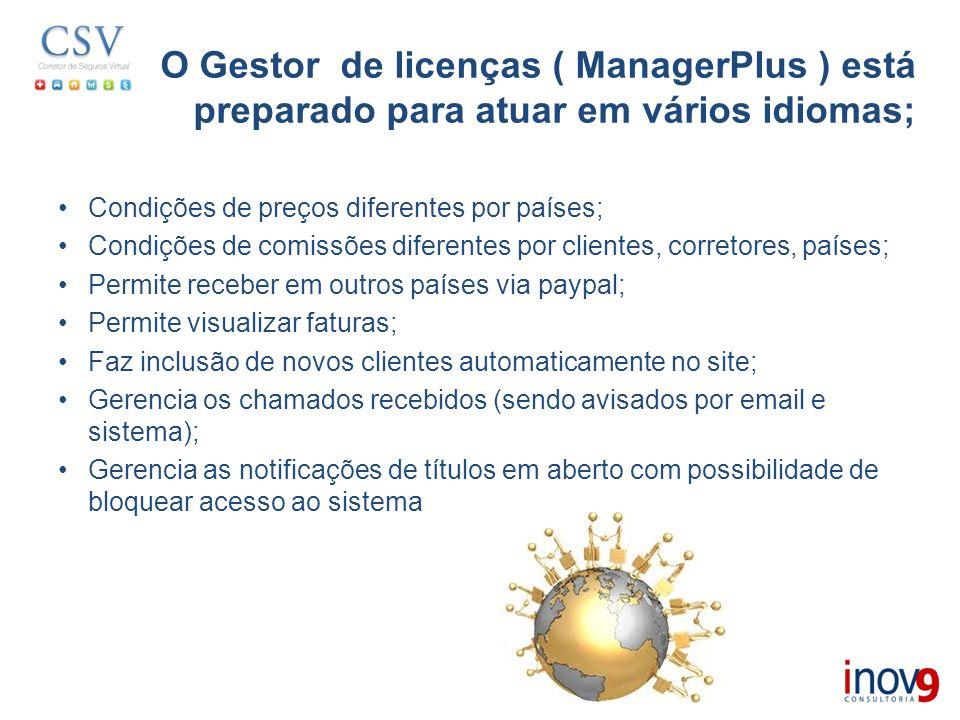 O Gestor de licenças ( ManagerPlus ) está preparado para atuar em vários idiomas;