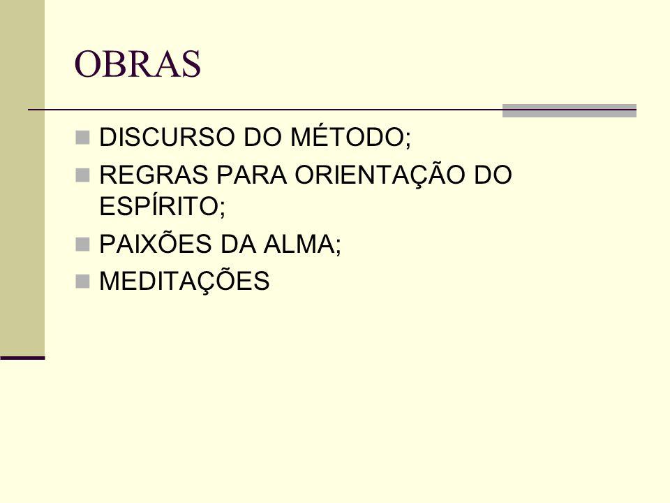 OBRAS DISCURSO DO MÉTODO; REGRAS PARA ORIENTAÇÃO DO ESPÍRITO;
