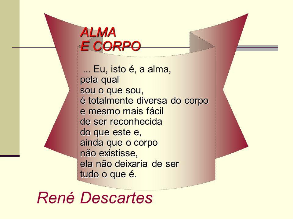 René Descartes ALMA E CORPO ... Eu, isto é, a alma, pela qual