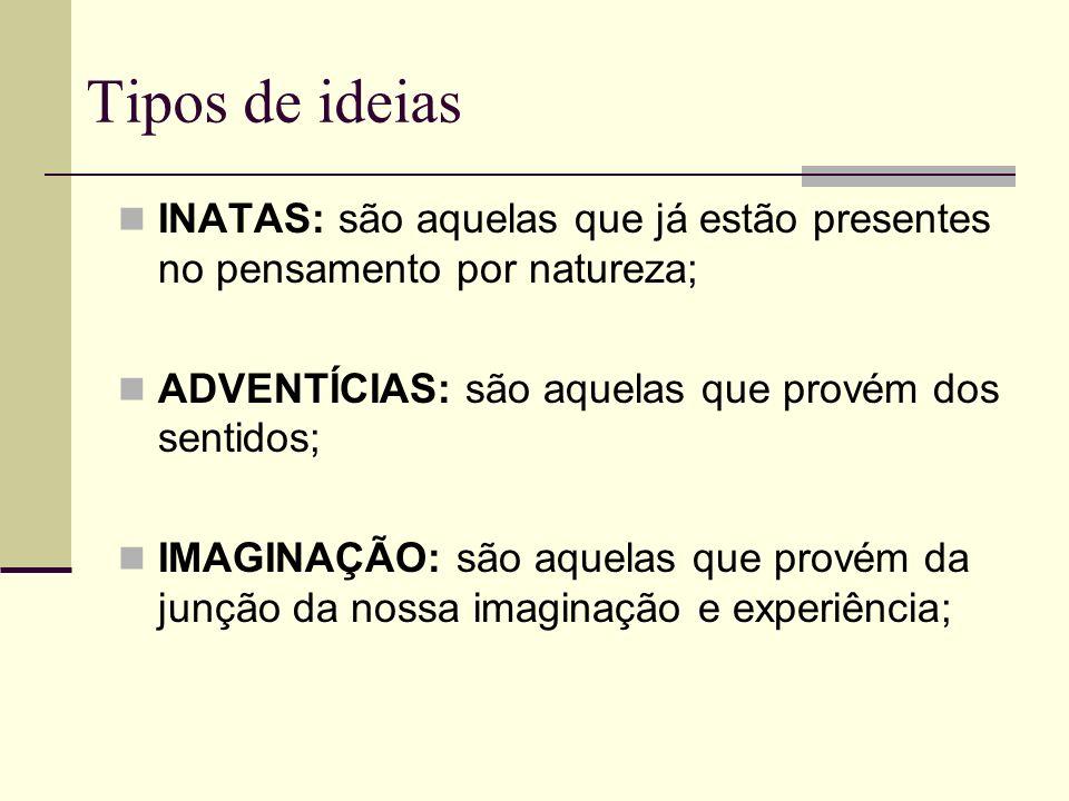 Tipos de ideias INATAS: são aquelas que já estão presentes no pensamento por natureza; ADVENTÍCIAS: são aquelas que provém dos sentidos;