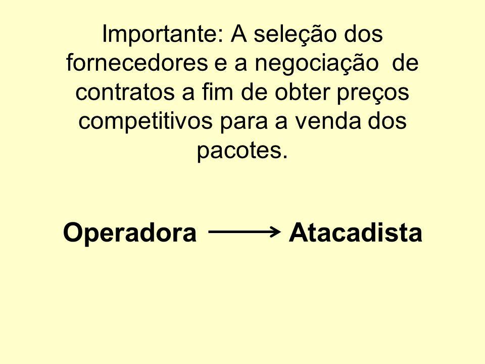 Importante: A seleção dos fornecedores e a negociação de contratos a fim de obter preços competitivos para a venda dos pacotes.