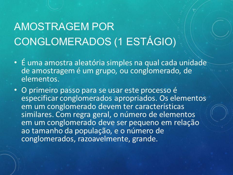 AMOSTRAGEM POR CONGLOMERADOS (1 ESTÁGIO)