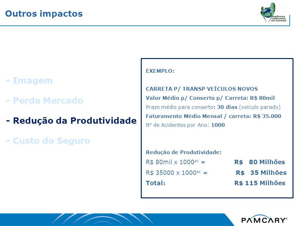- Redução da Produtividade - Custo do Seguro