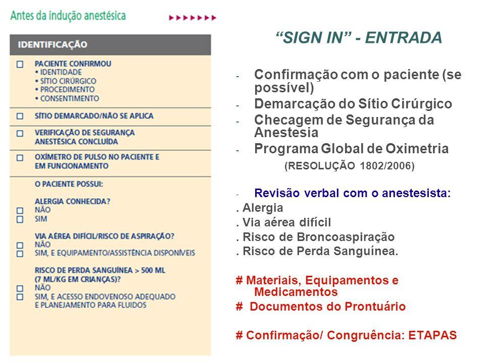 SIGN IN - ENTRADA Confirmação com o paciente (se possível)