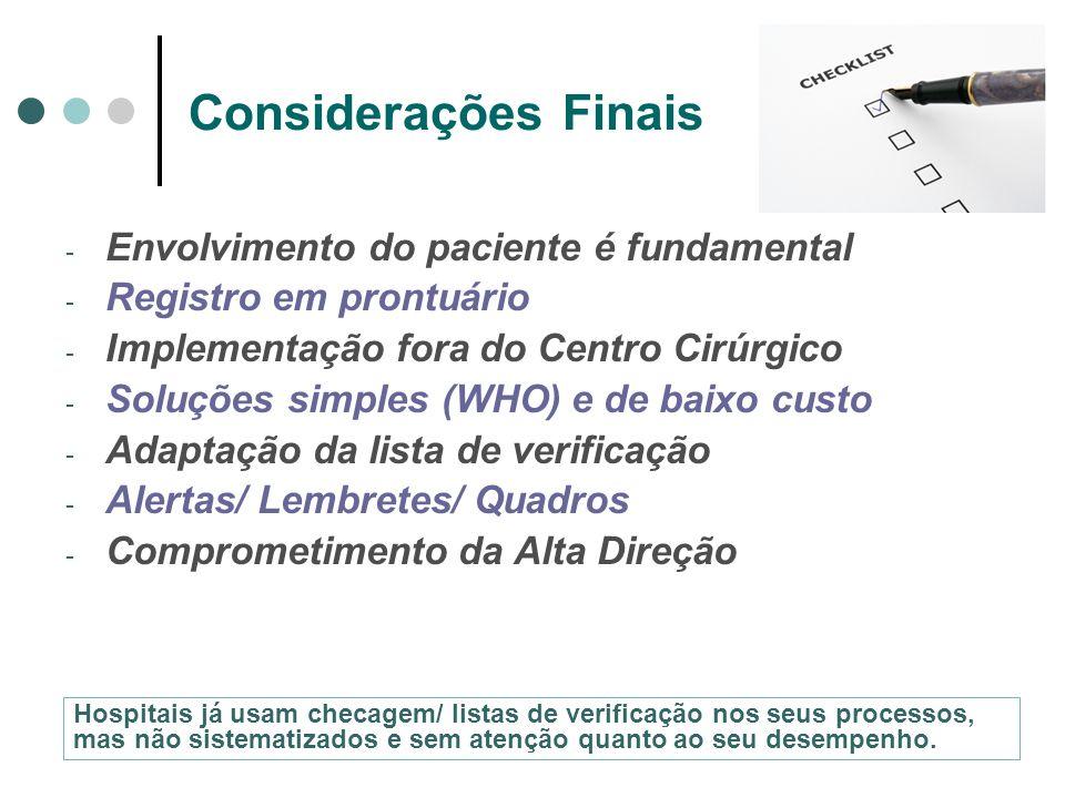 Considerações Finais Envolvimento do paciente é fundamental