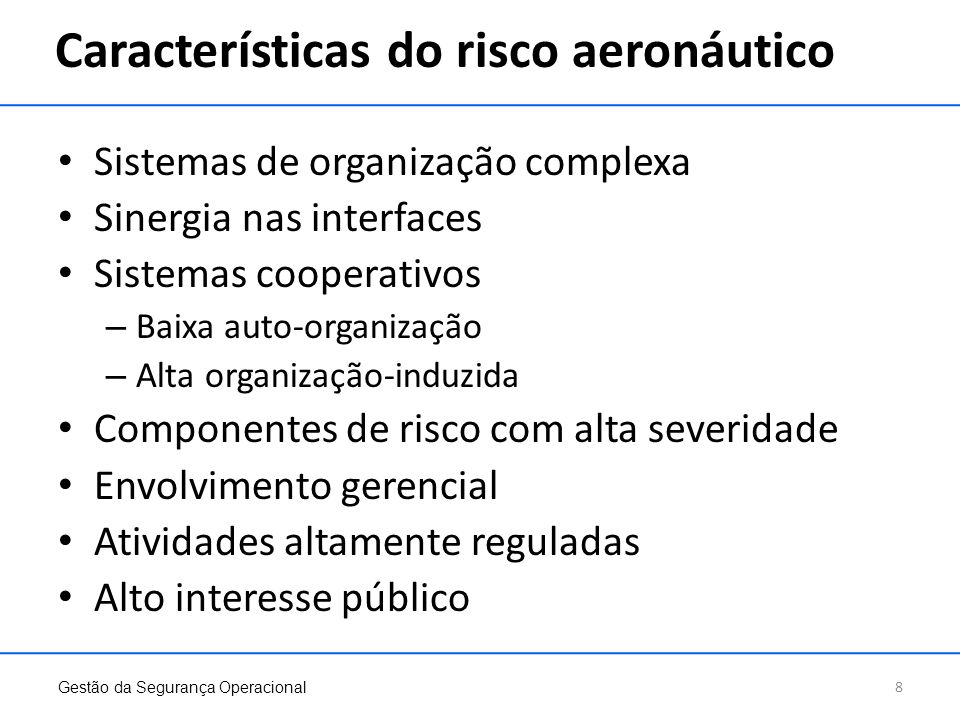 Características do risco aeronáutico