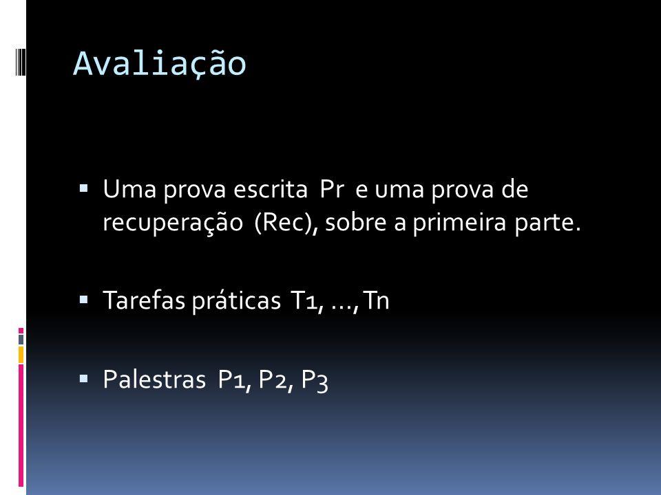 Avaliação Uma prova escrita Pr e uma prova de recuperação (Rec), sobre a primeira parte. Tarefas práticas T1, ..., Tn.