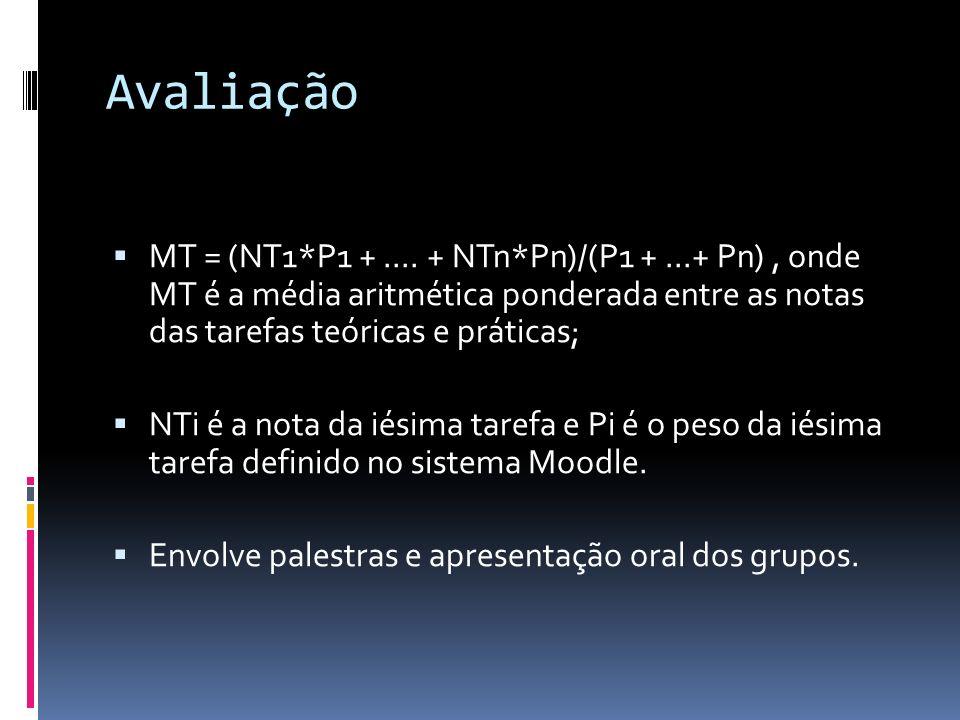 Avaliação MT = (NT1*P1 + .... + NTn*Pn)/(P1 + ...+ Pn) , onde MT é a média aritmética ponderada entre as notas das tarefas teóricas e práticas;