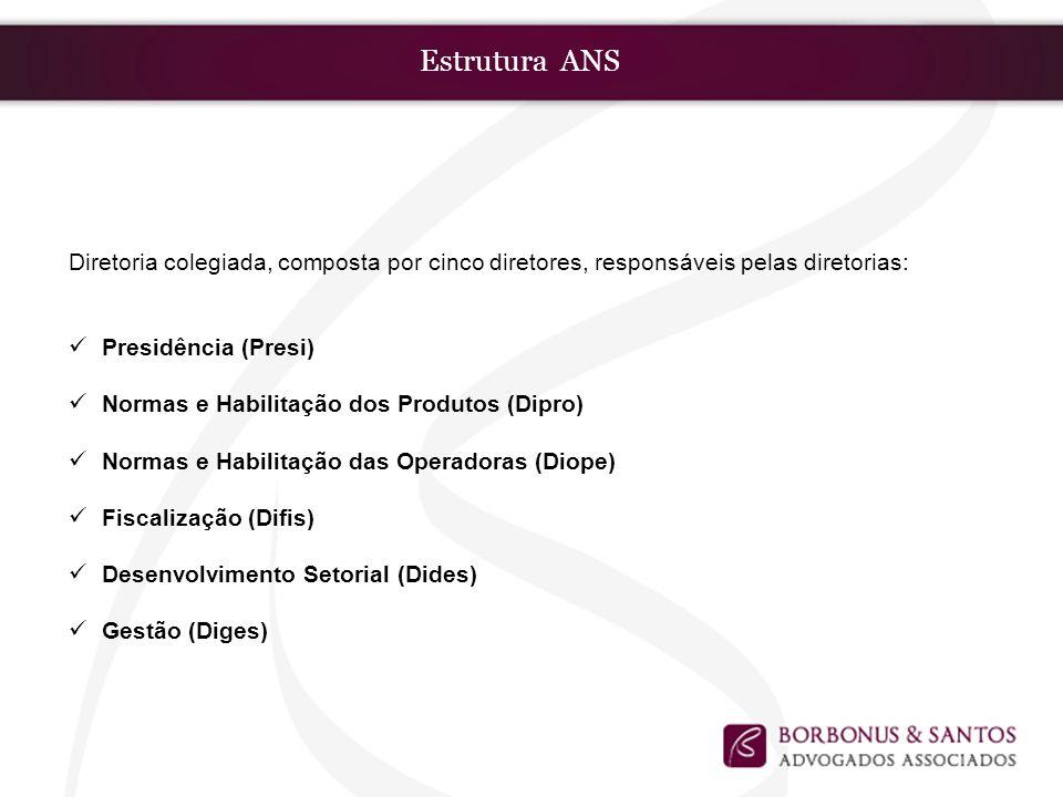 Estrutura ANS Diretoria colegiada, composta por cinco diretores, responsáveis pelas diretorias: