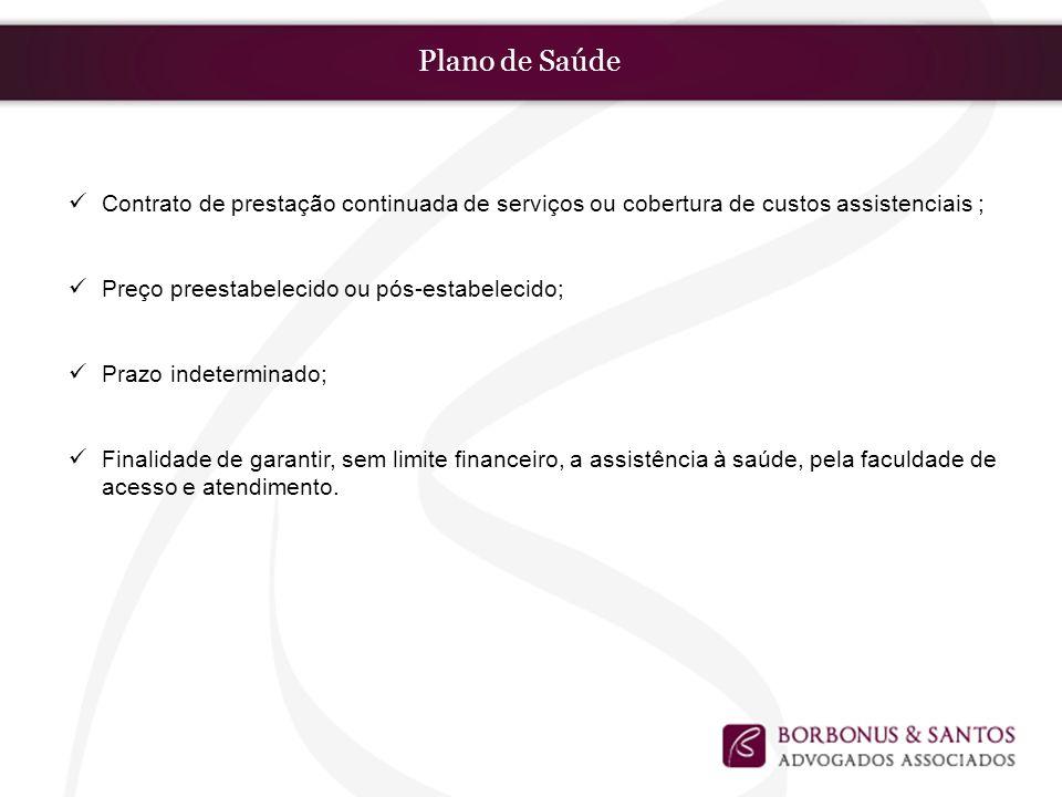 Plano de Saúde Contrato de prestação continuada de serviços ou cobertura de custos assistenciais ; Preço preestabelecido ou pós-estabelecido;