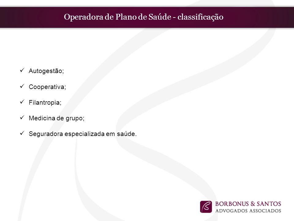 Operadora de Plano de Saúde - classificação