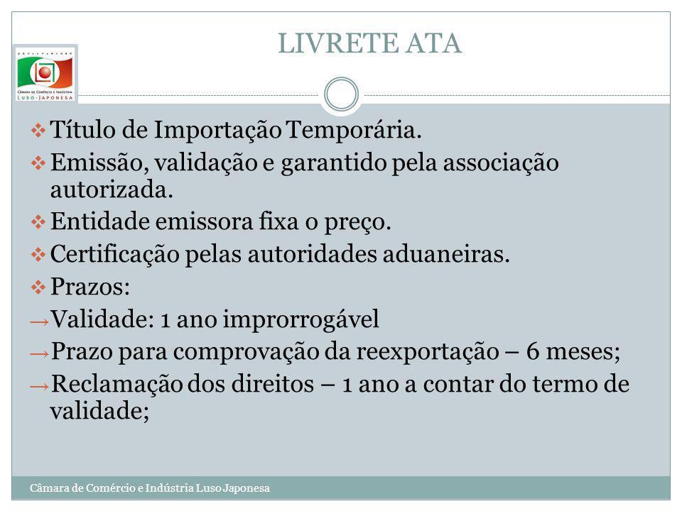 LIVRETE ATA Título de Importação Temporária.