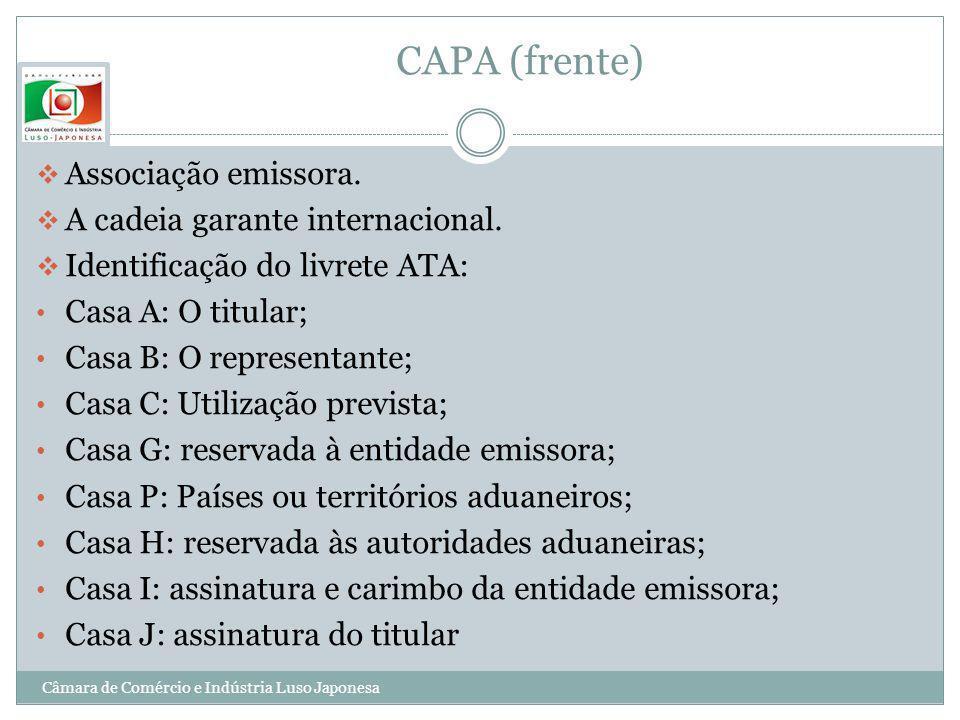 CAPA (frente) Associação emissora. A cadeia garante internacional.