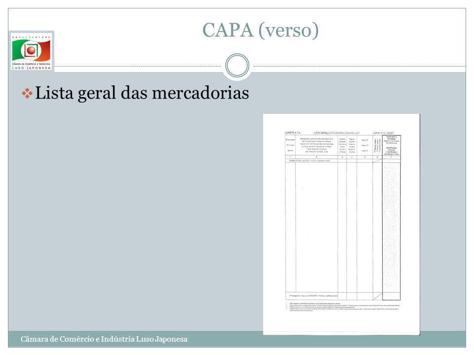 CAPA (verso) Lista geral das mercadorias