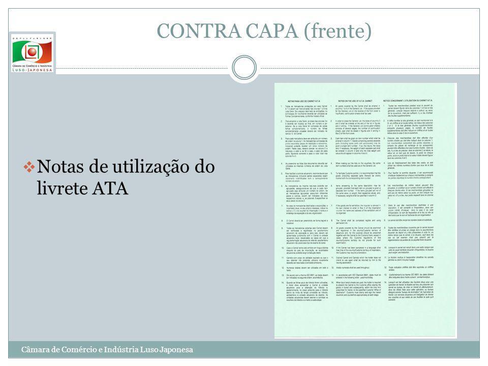 CONTRA CAPA (frente) Notas de utilização do livrete ATA