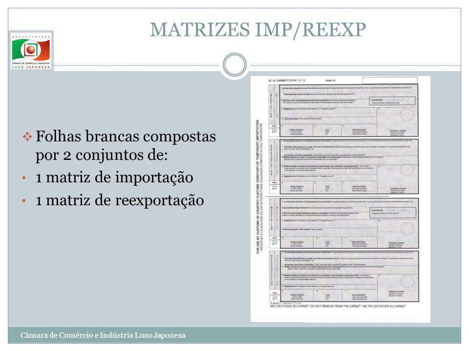 MATRIZES IMP/REEXP Folhas brancas compostas por 2 conjuntos de: