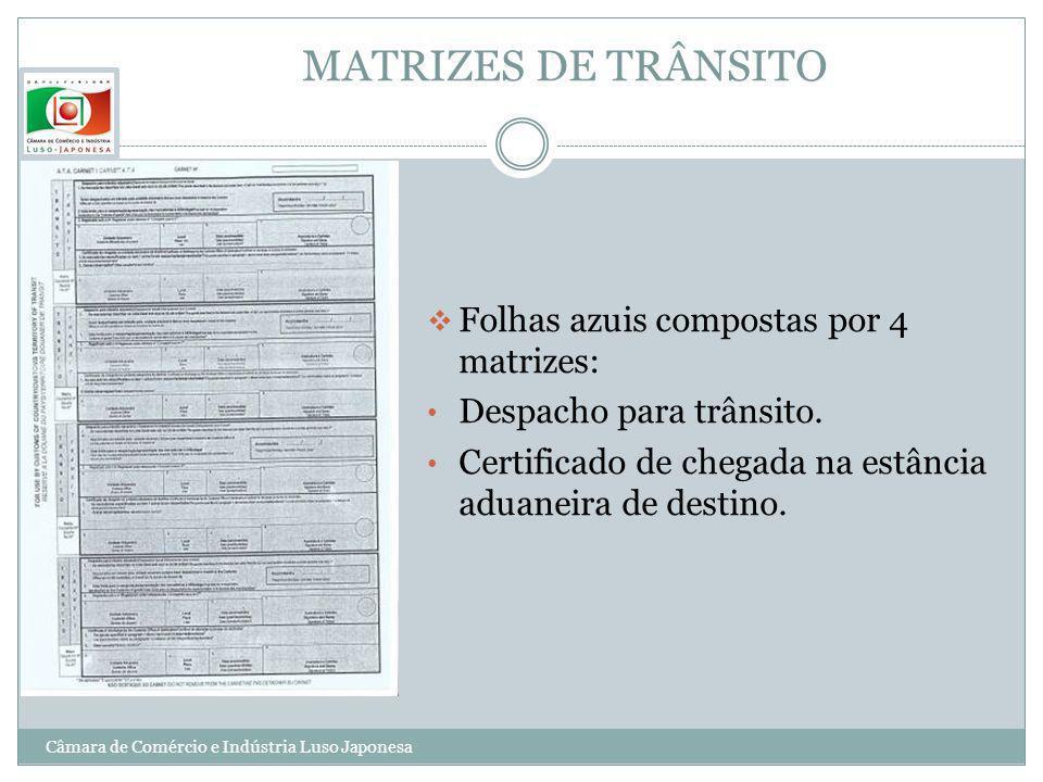 MATRIZES DE TRÂNSITO Folhas azuis compostas por 4 matrizes: