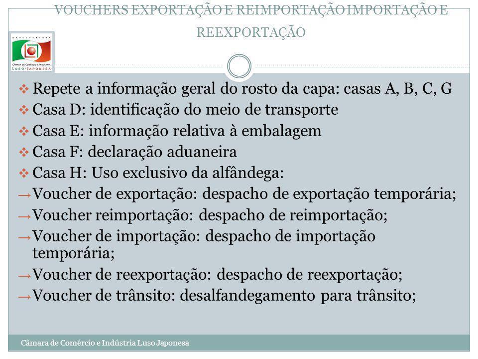 VOUCHERS EXPORTAÇÃO E REIMPORTAÇÃO IMPORTAÇÃO E REEXPORTAÇÃO