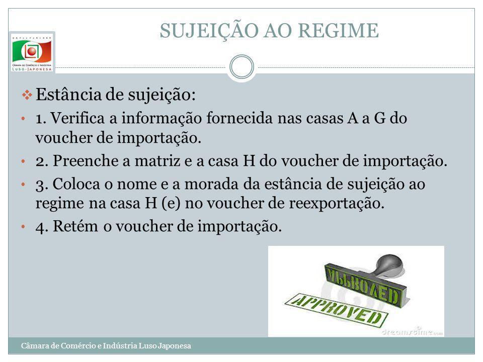 SUJEIÇÃO AO REGIME Estância de sujeição: