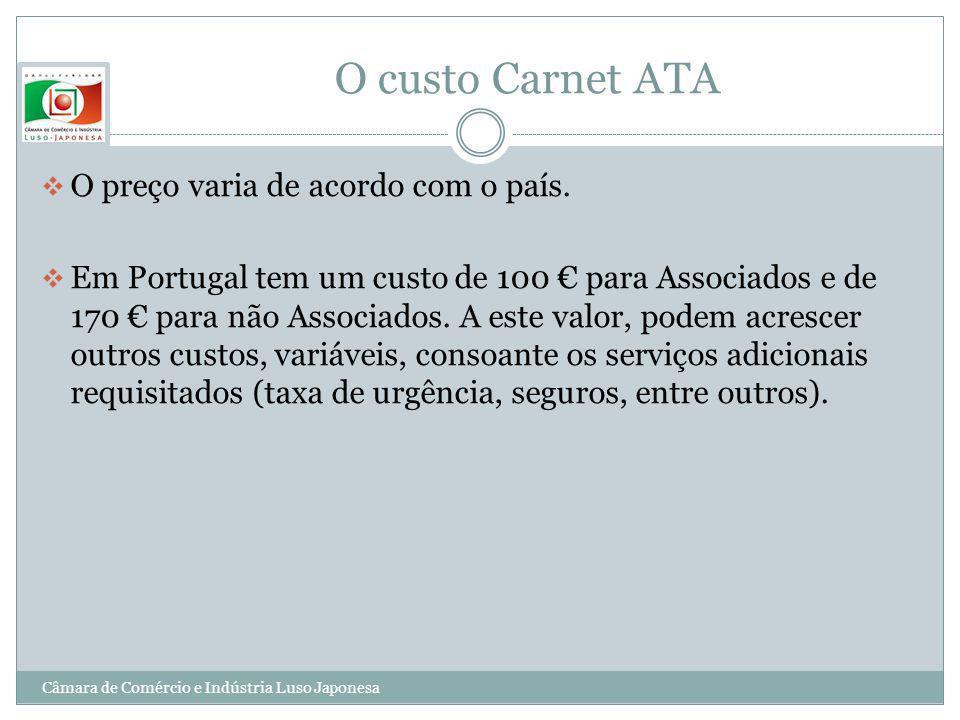 O custo Carnet ATA O preço varia de acordo com o país.