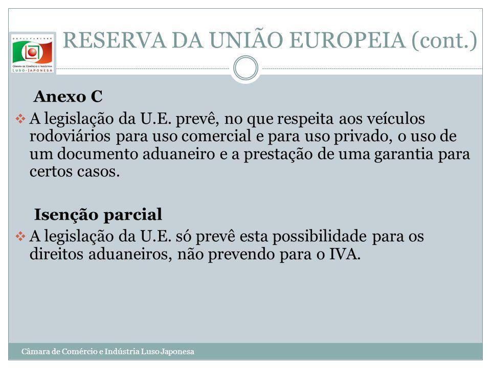 RESERVA DA UNIÃO EUROPEIA (cont.)