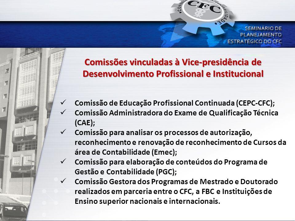 Comissões vinculadas à Vice-presidência de Desenvolvimento Profissional e Institucional