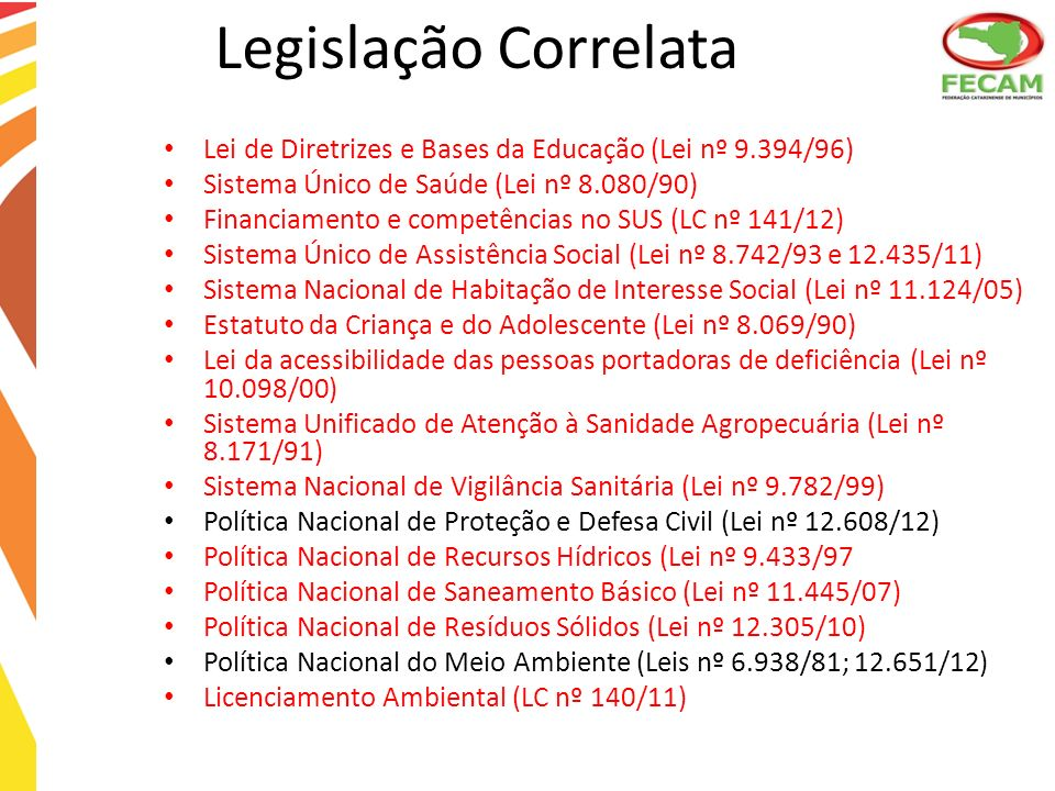 Legislação Correlata Lei de Diretrizes e Bases da Educação (Lei nº 9.394/96) Sistema Único de Saúde (Lei nº 8.080/90)