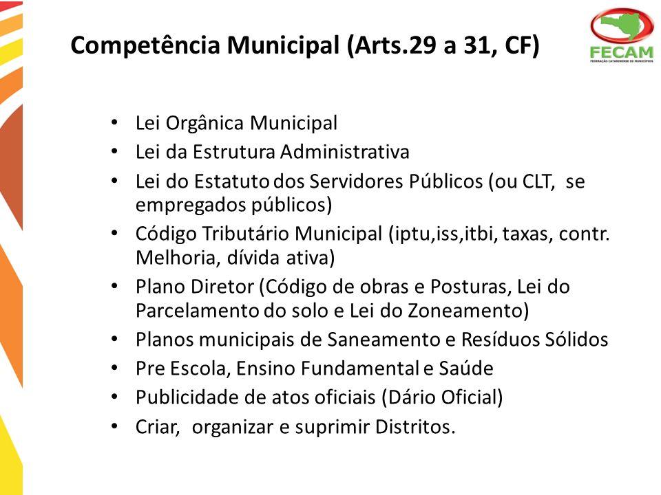 Competência Municipal (Arts.29 a 31, CF)