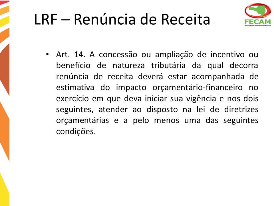 LRF – Renúncia de Receita