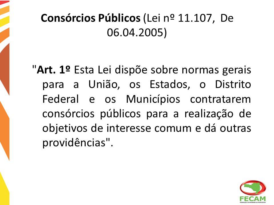 Consórcios Públicos (Lei nº 11.107, De 06.04.2005)