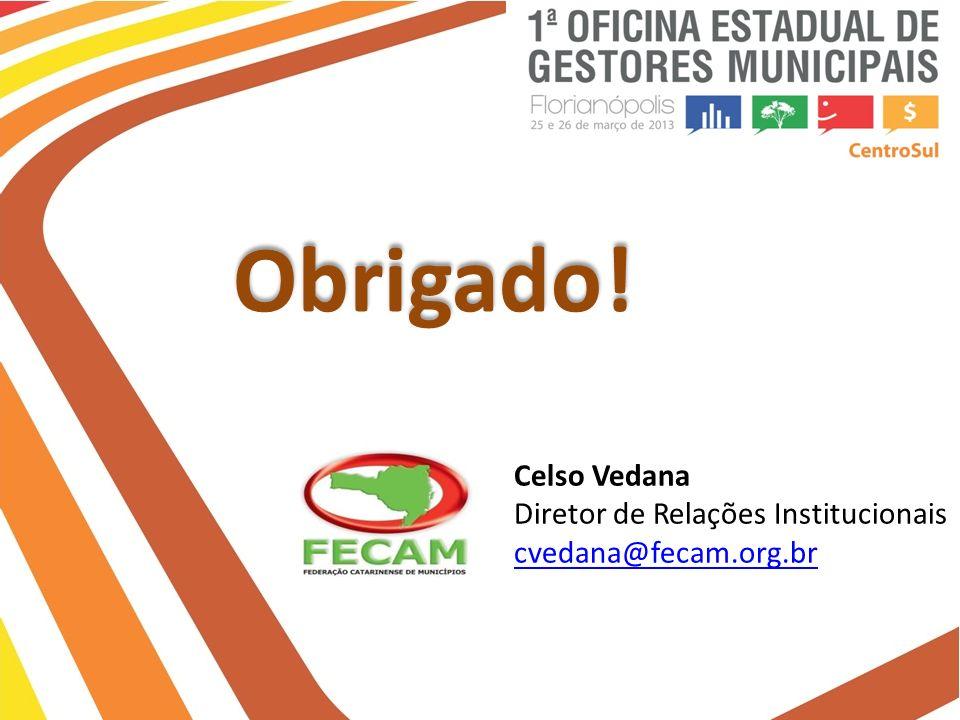 Obrigado! Celso Vedana Diretor de Relações Institucionais