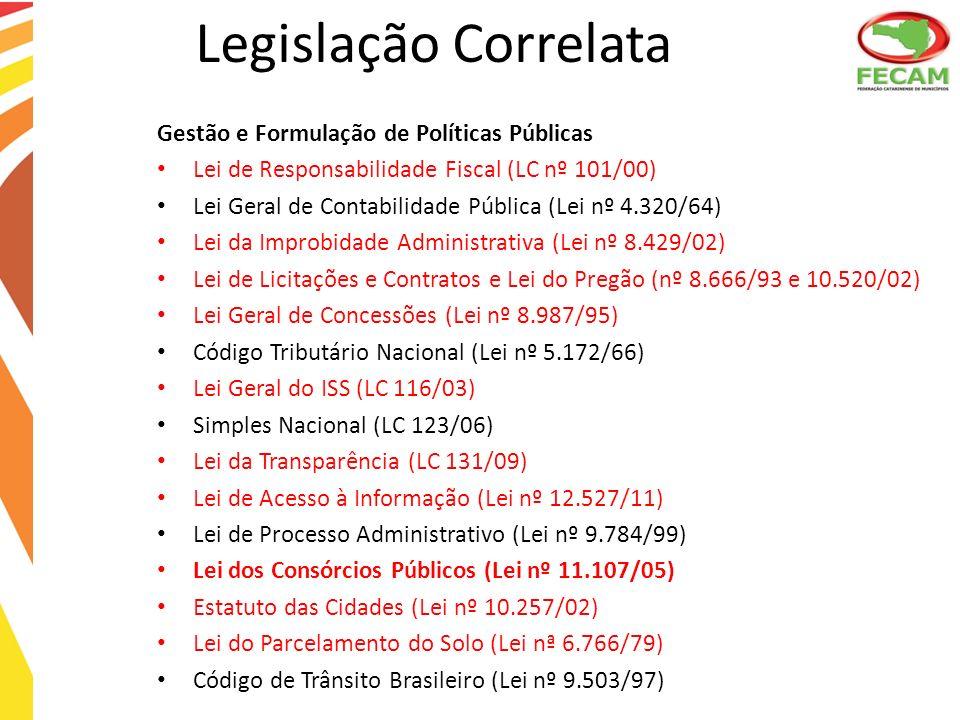 Legislação Correlata Gestão e Formulação de Políticas Públicas
