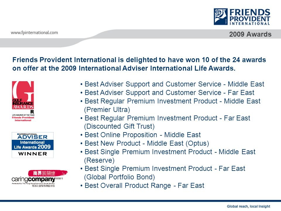 2009 Awards Friends Provident International is delighted to have won 10 of the 24 awards.