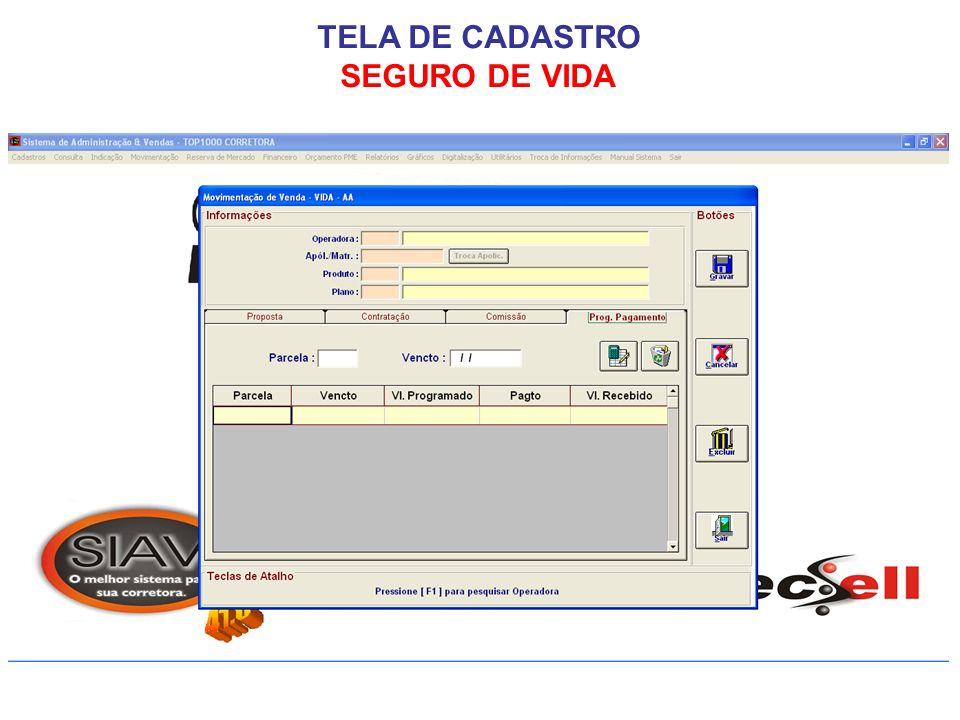 TELA DE CADASTRO SEGURO DE VIDA