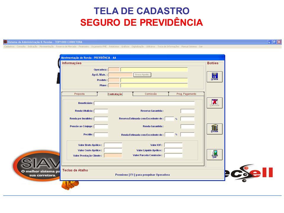 TELA DE CADASTRO SEGURO DE PREVIDÊNCIA