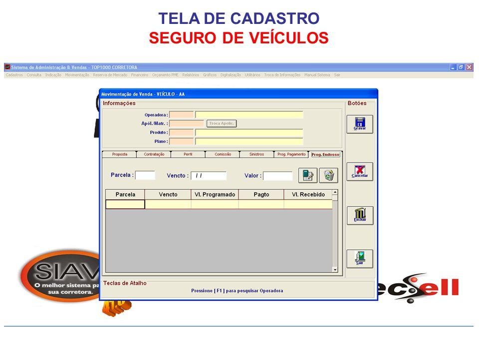 TELA DE CADASTRO SEGURO DE VEÍCULOS