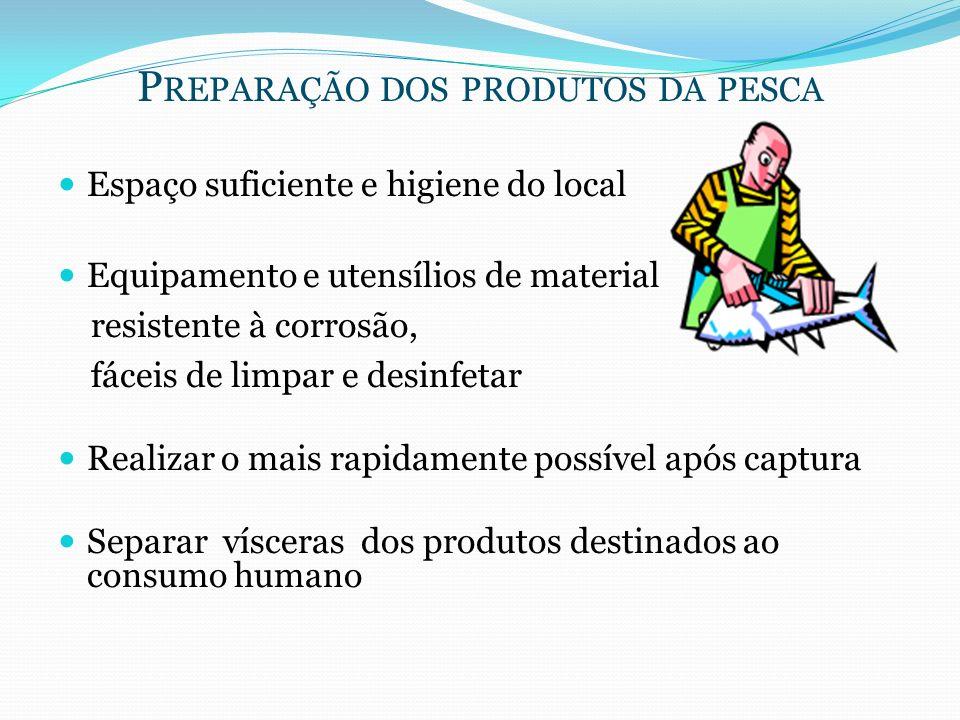 Preparação dos produtos da pesca