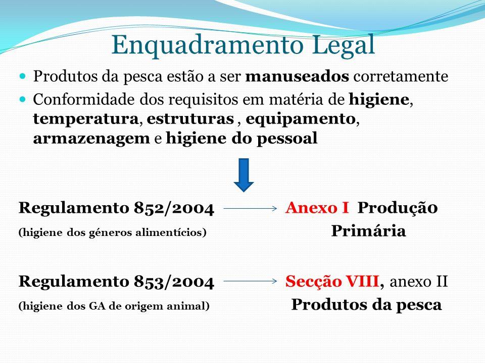 Enquadramento Legal Produtos da pesca estão a ser manuseados corretamente.