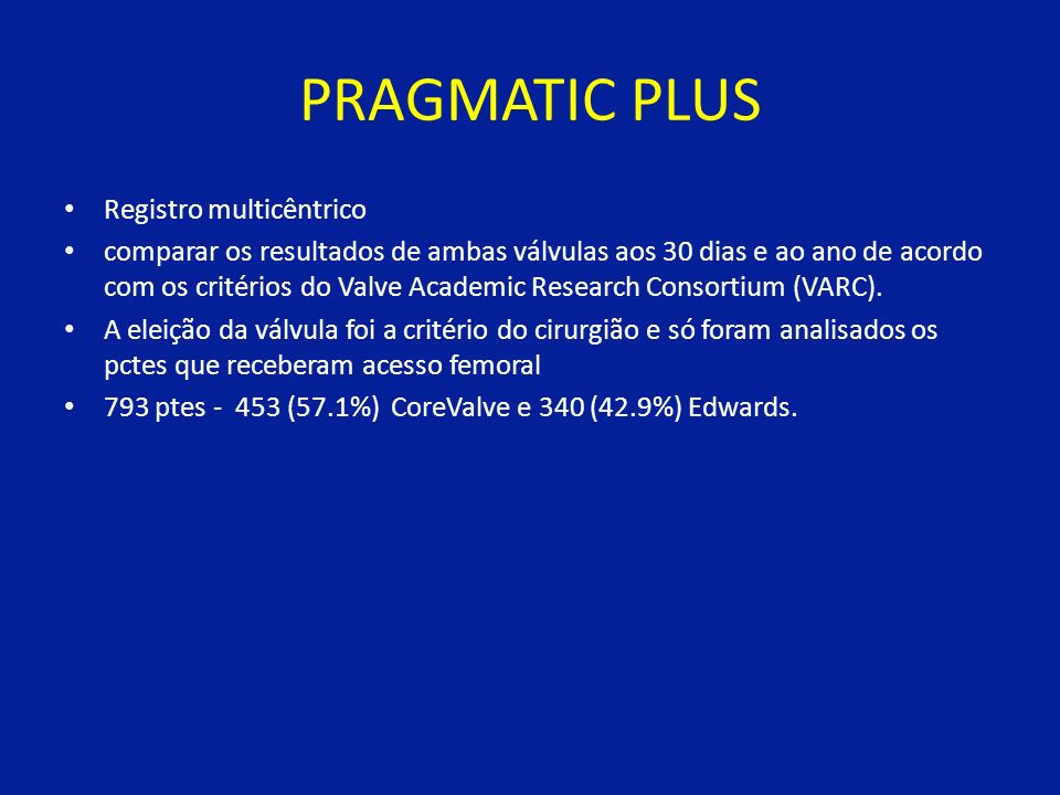 PRAGMATIC PLUS Registro multicêntrico