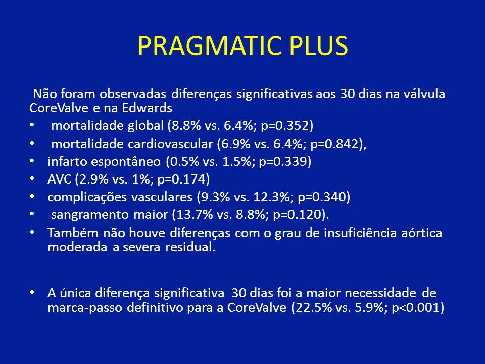 PRAGMATIC PLUS Não foram observadas diferenças significativas aos 30 dias na válvula CoreValve e na Edwards.