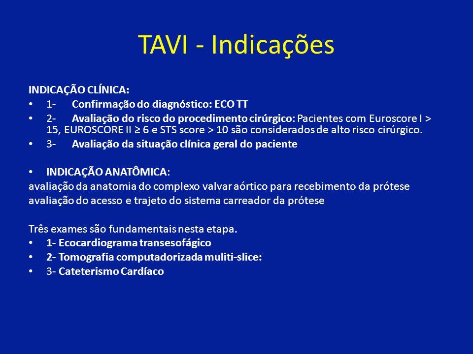 TAVI - Indicações INDICAÇÃO CLÍNICA: