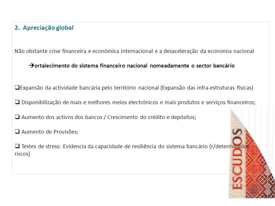 2. Apreciação global Não obstante crise financeira e económica internacional e a desaceleração da economia nacional.